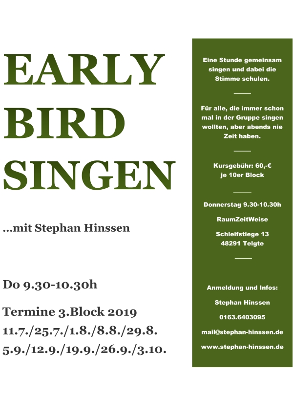 Early Bird Singen, Handzettel